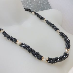 Jewelry - Black And White Glass Beaded Necklace
